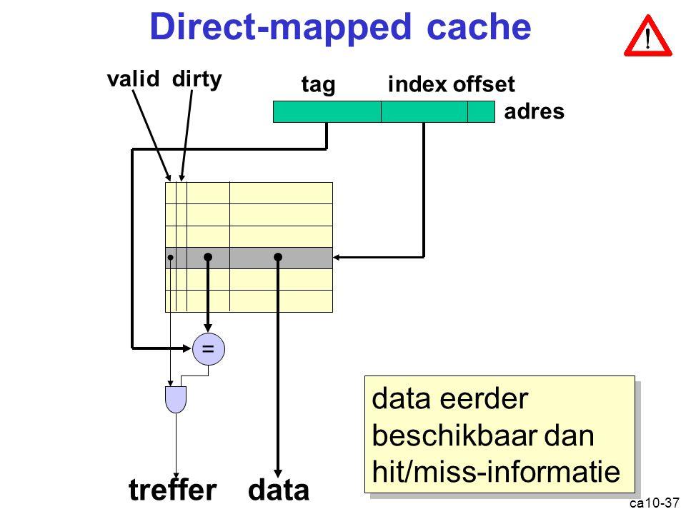 ca10-37 Direct-mapped cache = datatreffer tagindexoffset validdirty adres data eerder beschikbaar dan hit/miss-informatie Cache: direct mapped