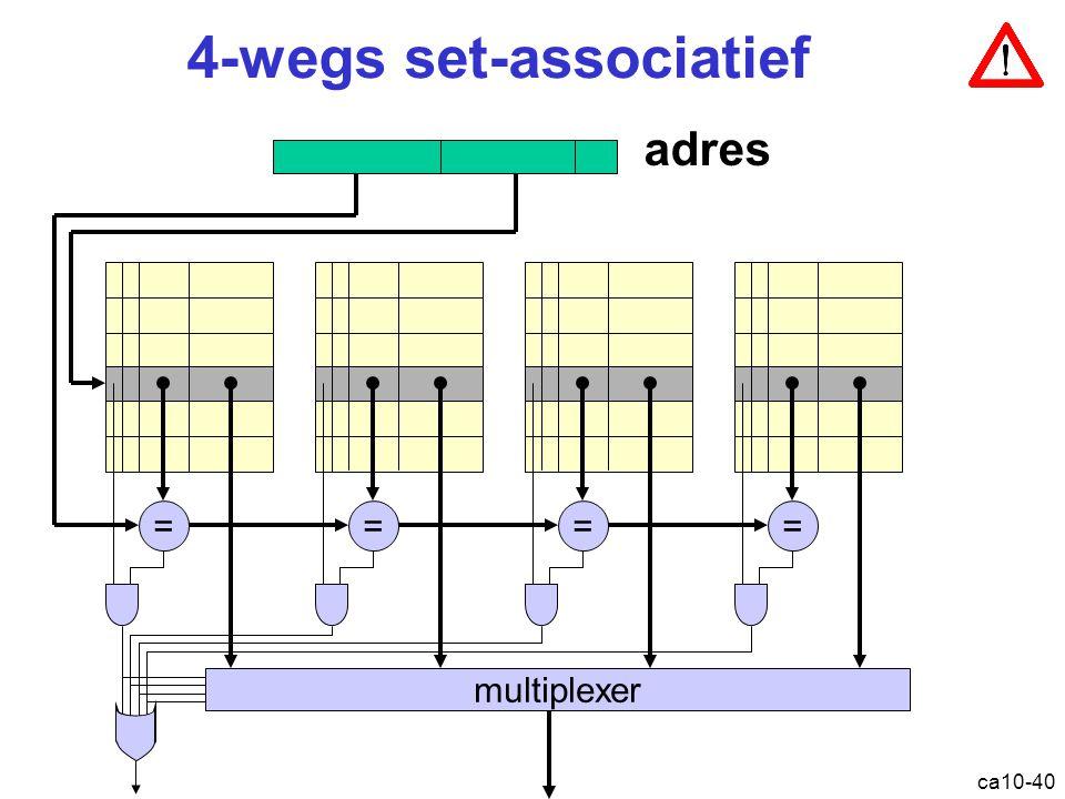 ca10-40 4-wegs set-associatief ==== multiplexer adres Cache: set-associatief