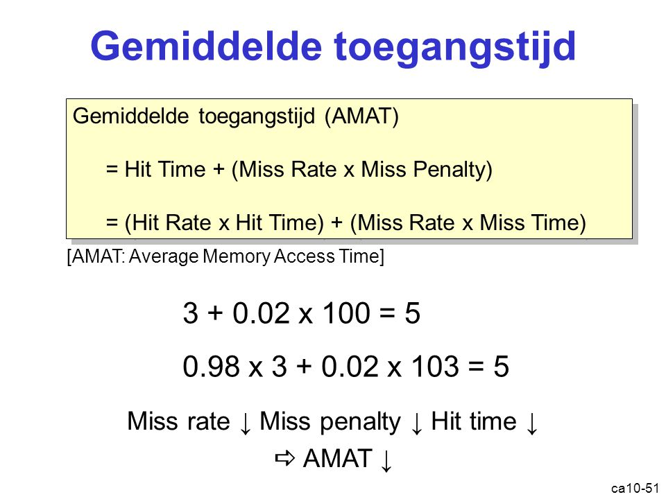 ca10-51 Gemiddelde toegangstijd Gemiddelde toegangstijd (AMAT) = Hit Time + (Miss Rate x Miss Penalty) = (Hit Rate x Hit Time) + (Miss Rate x Miss Time) Gemiddelde toegangstijd (AMAT) = Hit Time + (Miss Rate x Miss Penalty) = (Hit Rate x Hit Time) + (Miss Rate x Miss Time) 3 + 0.02 x 100 = 5 0.98 x 3 + 0.02 x 103 = 5 [AMAT: Average Memory Access Time] Miss rate ↓ Miss penalty ↓ Hit time ↓  AMAT ↓