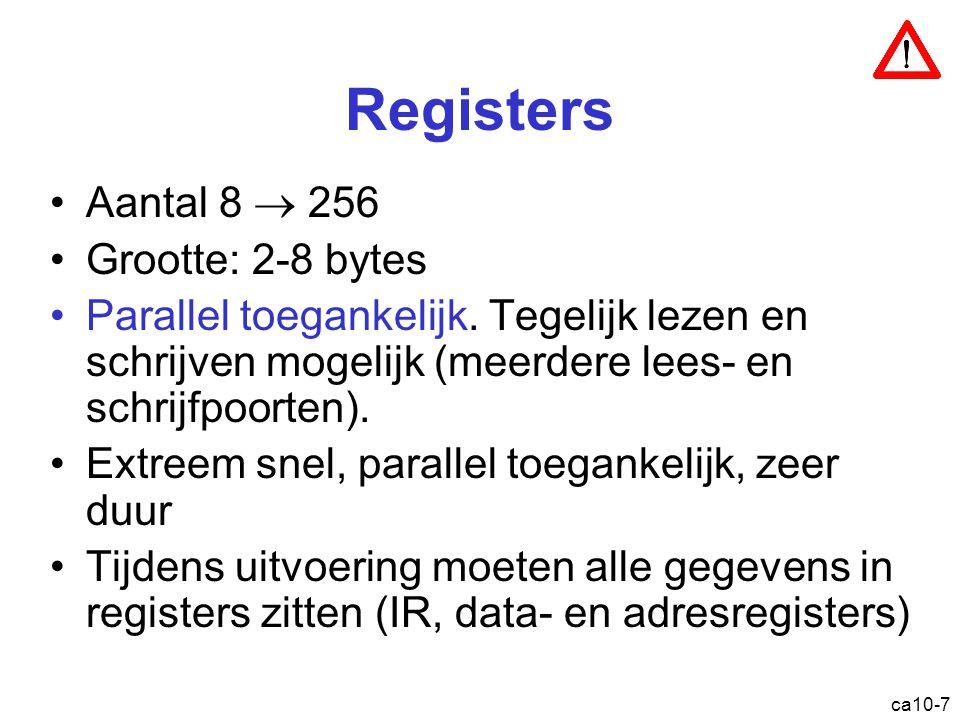 ca10-7 Registers Aantal 8  256 Grootte: 2-8 bytes Parallel toegankelijk. Tegelijk lezen en schrijven mogelijk (meerdere lees- en schrijfpoorten). Ext