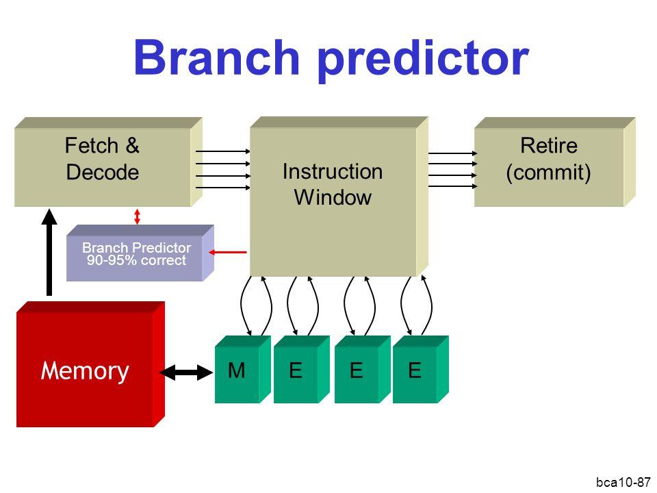 bca10-87 Retire (commit) Branch predictor Fetch & Decode Instruction Window MEEE Memory Branch Predictor 90-95% correct