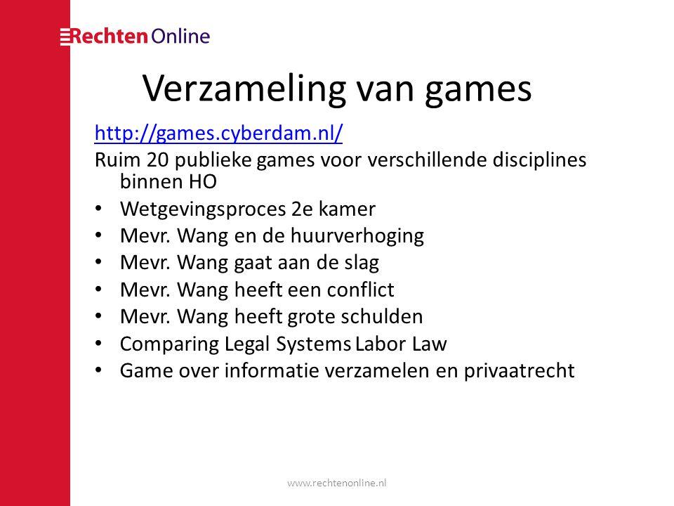 Verzameling van games http://games.cyberdam.nl/ Ruim 20 publieke games voor verschillende disciplines binnen HO Wetgevingsproces 2e kamer Mevr.