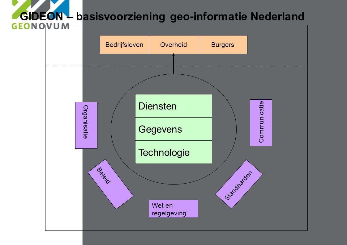 Technologie Wet en regelgeving Communicatie Standaarden Beleid Organisatie Gegevens Diensten BedrijfslevenBurgersOverheid GIDEON – basisvoorziening geo-informatie Nederland