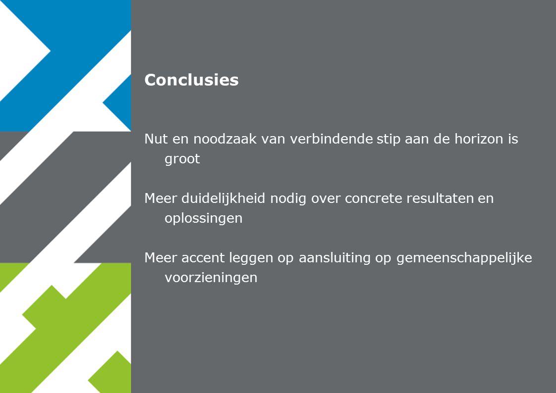 23 november 2007 Gezamenlijk uitvoeren Conclusies Nut en noodzaak van verbindende stip aan de horizon is groot Meer duidelijkheid nodig over concrete