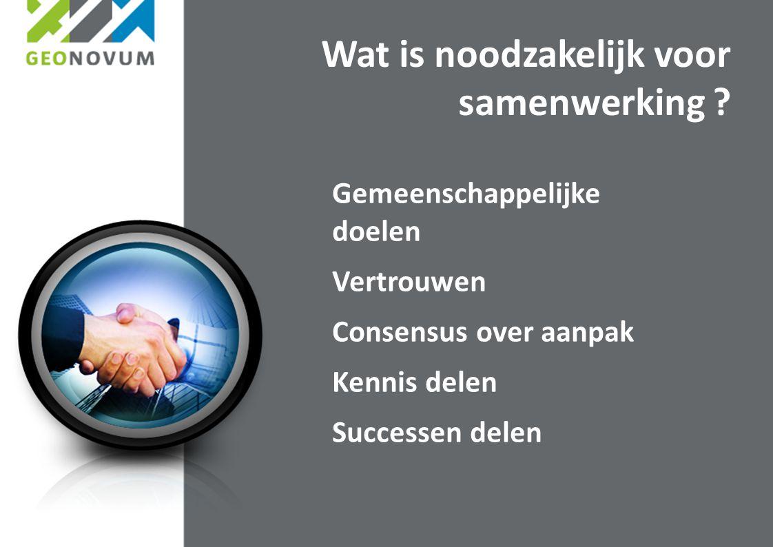 Gemeenschappelijke doelen Vertrouwen Consensus over aanpak Kennis delen Successen delen Wat is noodzakelijk voor samenwerking