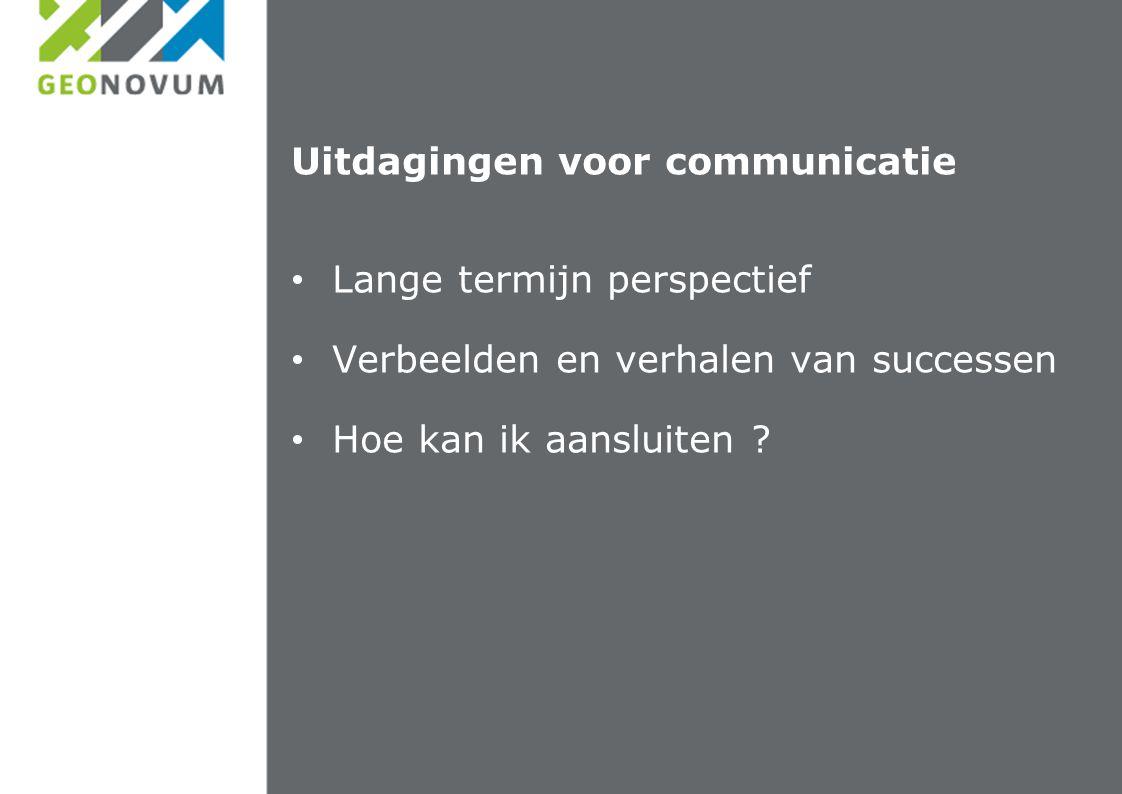 Uitdagingen voor communicatie Lange termijn perspectief Verbeelden en verhalen van successen Hoe kan ik aansluiten