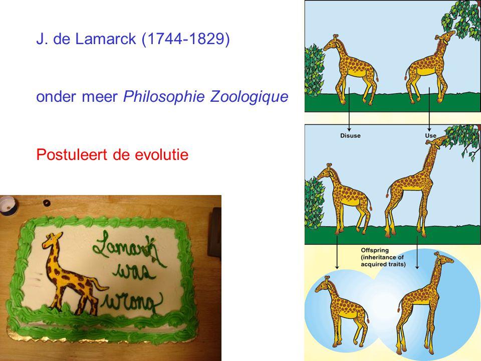J. de Lamarck (1744-1829) onder meer Philosophie Zoologique Postuleert de evolutie