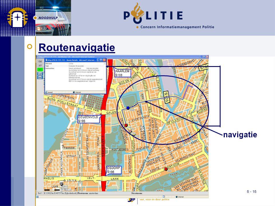 5 - 15 Routenavigatie navigatie