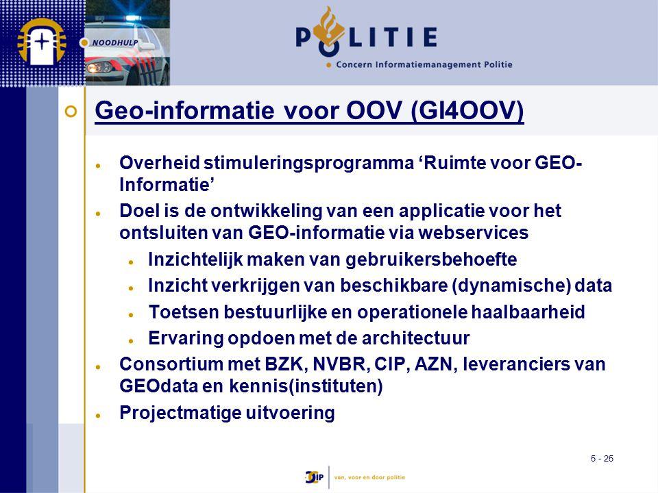 5 - 25 Geo-informatie voor OOV (GI4OOV) Overheid stimuleringsprogramma 'Ruimte voor GEO- Informatie' Doel is de ontwikkeling van een applicatie voor het ontsluiten van GEO-informatie via webservices Inzichtelijk maken van gebruikersbehoefte Inzicht verkrijgen van beschikbare (dynamische) data Toetsen bestuurlijke en operationele haalbaarheid Ervaring opdoen met de architectuur Consortium met BZK, NVBR, CIP, AZN, leveranciers van GEOdata en kennis(instituten) Projectmatige uitvoering