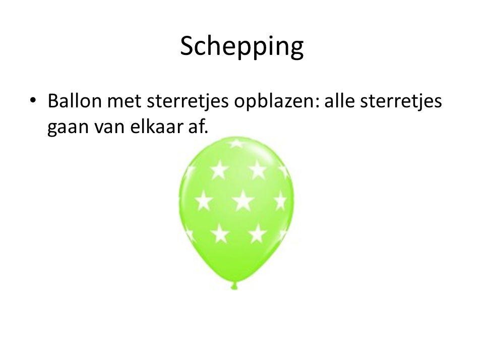 Schepping Ballon met sterretjes opblazen: alle sterretjes gaan van elkaar af.