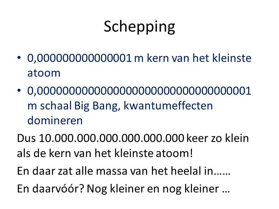 0,000000000000001 m kern van het kleinste atoom 0,0000000000000000000000000000000001 m schaal Big Bang, kwantumeffecten domineren Dus 10.000.000.000.0