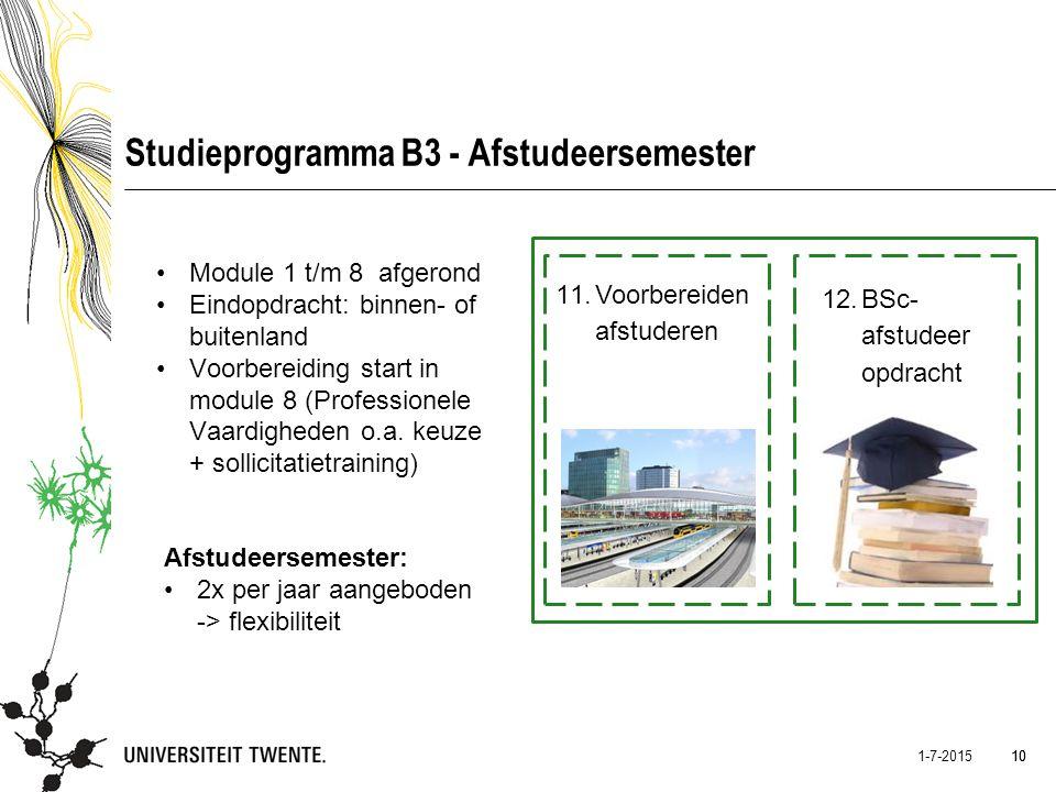 10 1-7-2015 10 Studieprogramma B3 - Afstudeersemester Module 1 t/m 8 afgerond Eindopdracht: binnen- of buitenland Voorbereiding start in module 8 (Pro