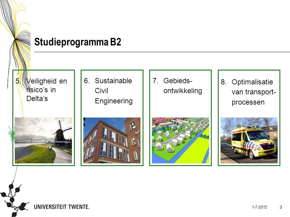 3 1-7-2015 3 Studieprogramma B2 5.Veiligheid en risico's in Delta's 6.Sustainable Civil Engineering 7.Gebieds- ontwikkeling 8.Optimalisatie van transp