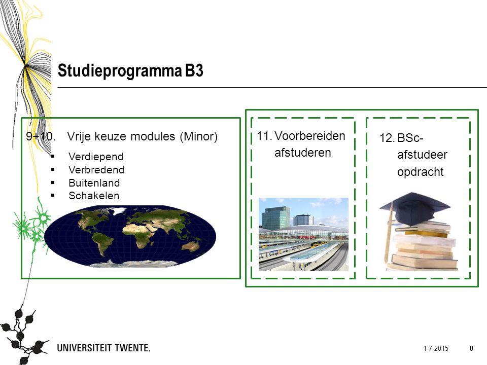 8 1-7-2015 8 Studieprogramma B3 9+10. Vrije keuze modules (Minor)  Verdiepend  Verbredend  Buitenland  Schakelen 11.Voorbereiden afstuderen 12.BSc