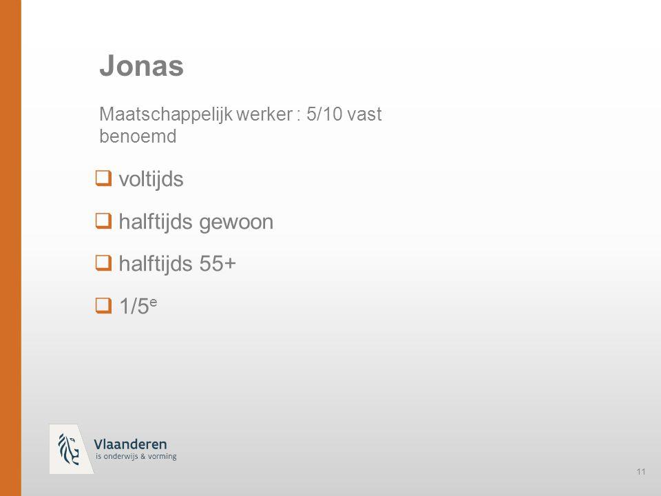 11  voltijds  halftijds gewoon  halftijds 55+  1/5 e Jonas Maatschappelijk werker : 5/10 vast benoemd