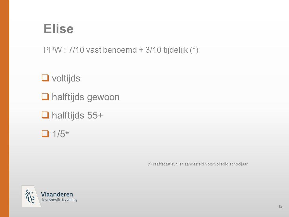 12  voltijds  halftijds gewoon  halftijds 55+  1/5 e Elise PPW : 7/10 vast benoemd + 3/10 tijdelijk (*) (*) reaffectatievrij en aangesteld voor volledig schooljaar