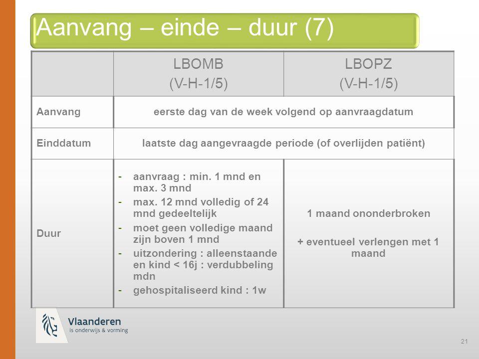 21 Aanvang – einde – duur (7) LBOMB (V-H-1/5) LBOPZ (V-H-1/5) Aanvangeerste dag van de week volgend op aanvraagdatum Einddatumlaatste dag aangevraagde periode (of overlijden patiënt) Duur -aanvraag : min.