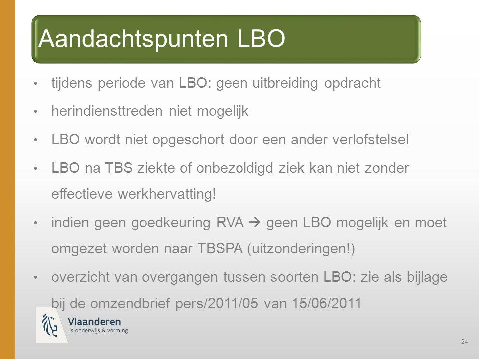 24 Aandachtspunten LBO tijdens periode van LBO: geen uitbreiding opdracht herindiensttreden niet mogelijk LBO wordt niet opgeschort door een ander verlofstelsel LBO na TBS ziekte of onbezoldigd ziek kan niet zonder effectieve werkhervatting.
