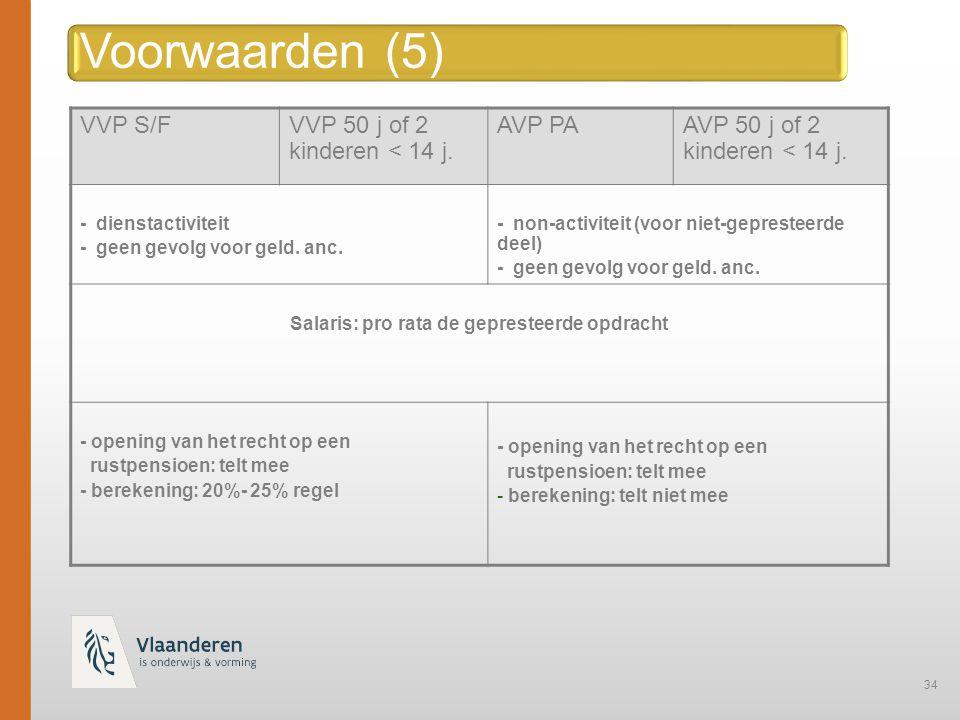 34 Voorwaarden (5) VVP S/FVVP 50 j of 2 kinderen < 14 j.