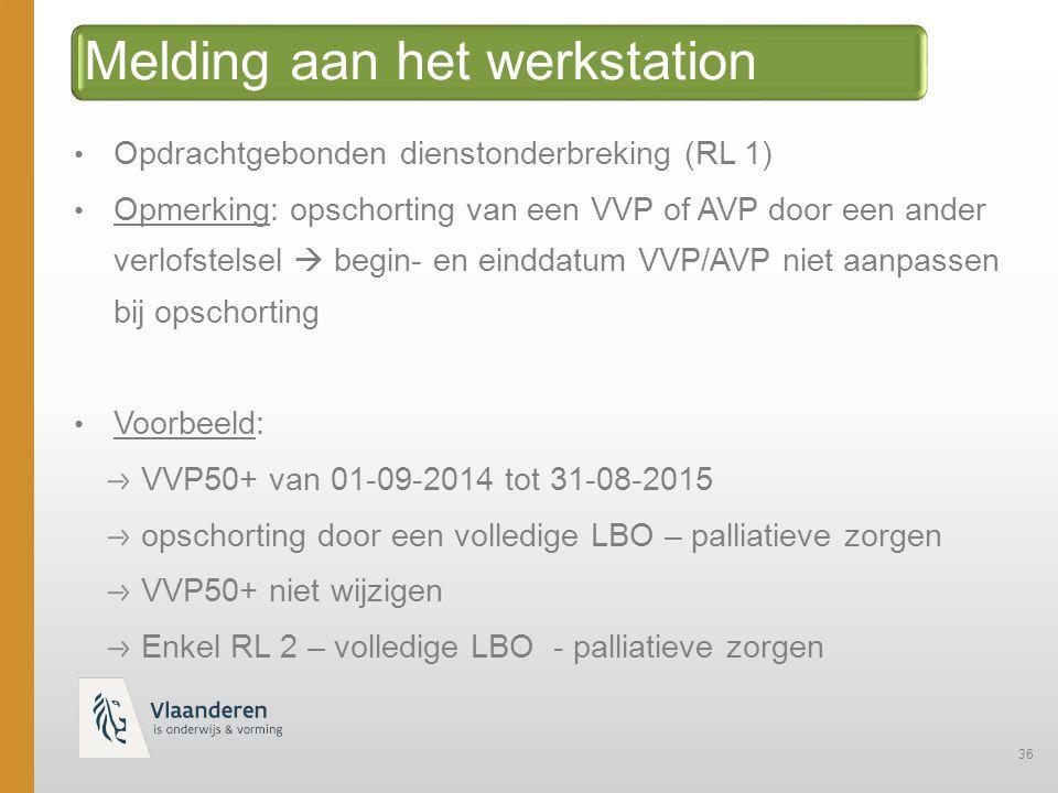 36 Melding aan het werkstation Opdrachtgebonden dienstonderbreking (RL 1) Opmerking: opschorting van een VVP of AVP door een ander verlofstelsel  begin- en einddatum VVP/AVP niet aanpassen bij opschorting Voorbeeld: VVP50+ van 01-09-2014 tot 31-08-2015 opschorting door een volledige LBO – palliatieve zorgen VVP50+ niet wijzigen Enkel RL 2 – volledige LBO - palliatieve zorgen