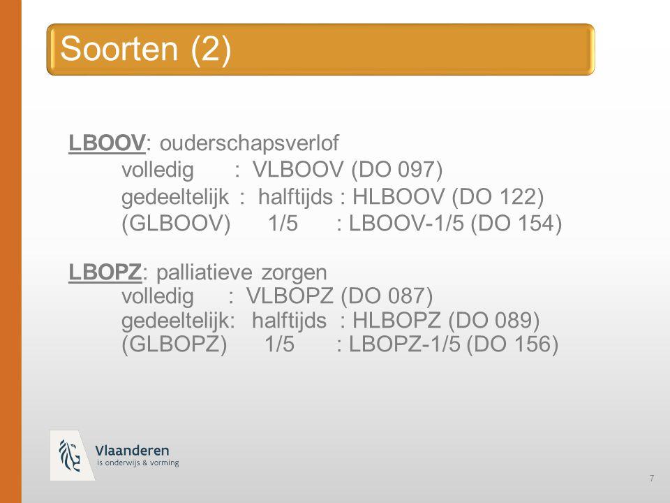 7 LBOOV: ouderschapsverlof volledig : VLBOOV (DO 097) gedeeltelijk : halftijds : HLBOOV (DO 122) (GLBOOV) 1/5: LBOOV-1/5 (DO 154) LBOPZ: palliatieve zorgen volledig : VLBOPZ (DO 087) gedeeltelijk: halftijds : HLBOPZ (DO 089) (GLBOPZ) 1/5: LBOPZ-1/5 (DO 156)