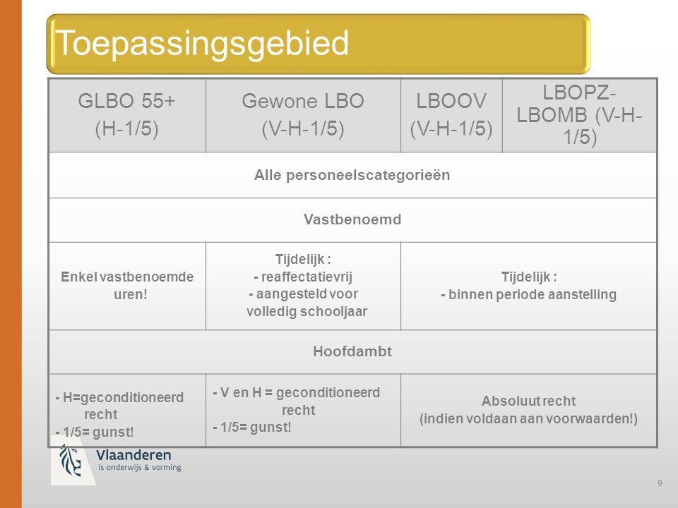 9 Toepassingsgebied GLBO 55+ (H-1/5) Gewone LBO (V-H-1/5) LBOOV (V-H-1/5) LBOPZ- LBOMB (V-H- 1/5) Alle personeelscategorieën Vastbenoemd Enkel vastbenoemde uren.