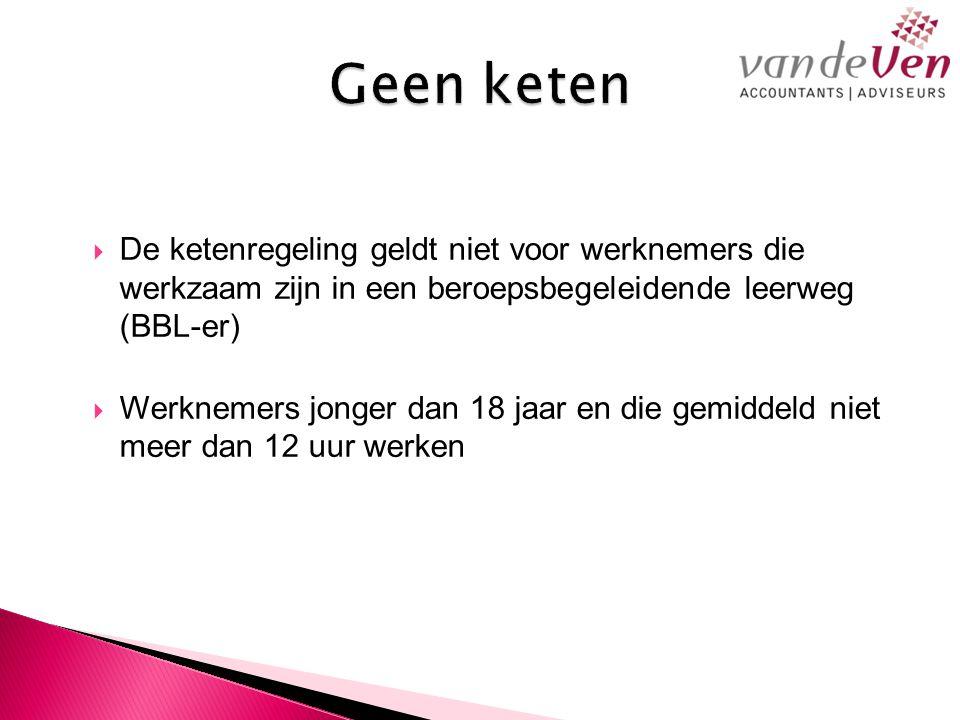  De ketenregeling geldt niet voor werknemers die werkzaam zijn in een beroepsbegeleidende leerweg (BBL-er)  Werknemers jonger dan 18 jaar en die gemiddeld niet meer dan 12 uur werken
