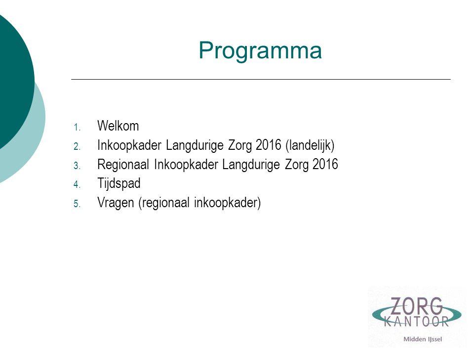 Programma 1.Welkom 2. Inkoopkader Langdurige Zorg 2016 (landelijk) 3.