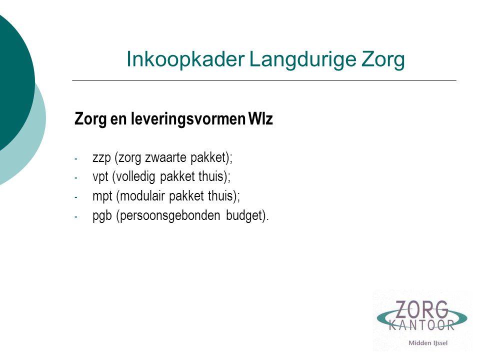 Inkoopkader Langdurige Zorg Zorg en leveringsvormen Wlz - zzp (zorg zwaarte pakket); - vpt (volledig pakket thuis); - mpt (modulair pakket thuis); - pgb (persoonsgebonden budget).
