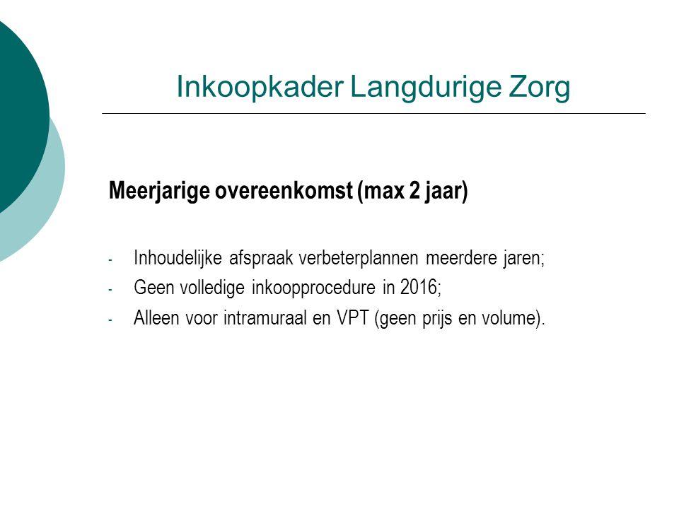 Inkoopkader Langdurige Zorg Meerjarige overeenkomst (max 2 jaar) - Inhoudelijke afspraak verbeterplannen meerdere jaren; - Geen volledige inkoopprocedure in 2016; - Alleen voor intramuraal en VPT (geen prijs en volume).