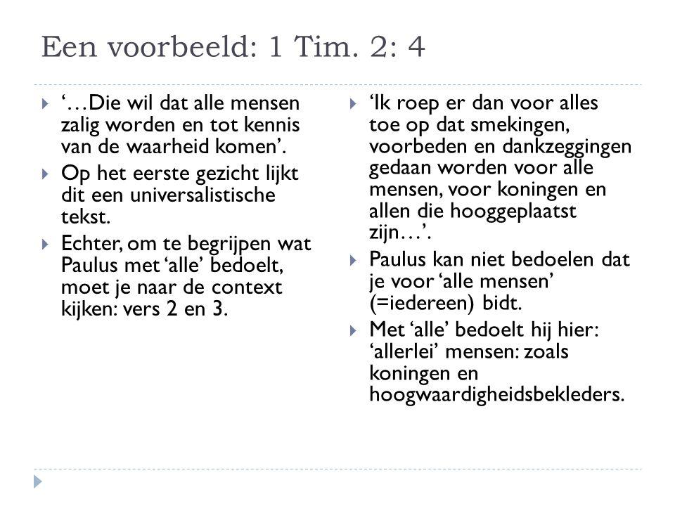Een voorbeeld: 1 Tim.