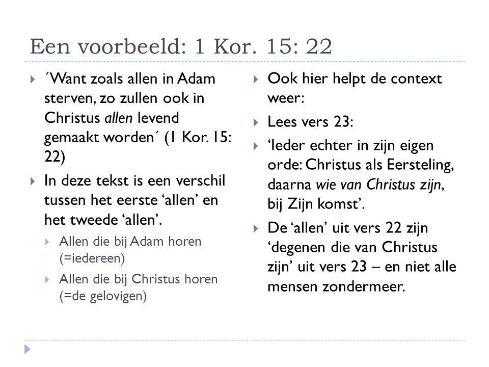 Een voorbeeld: 1 Kor.