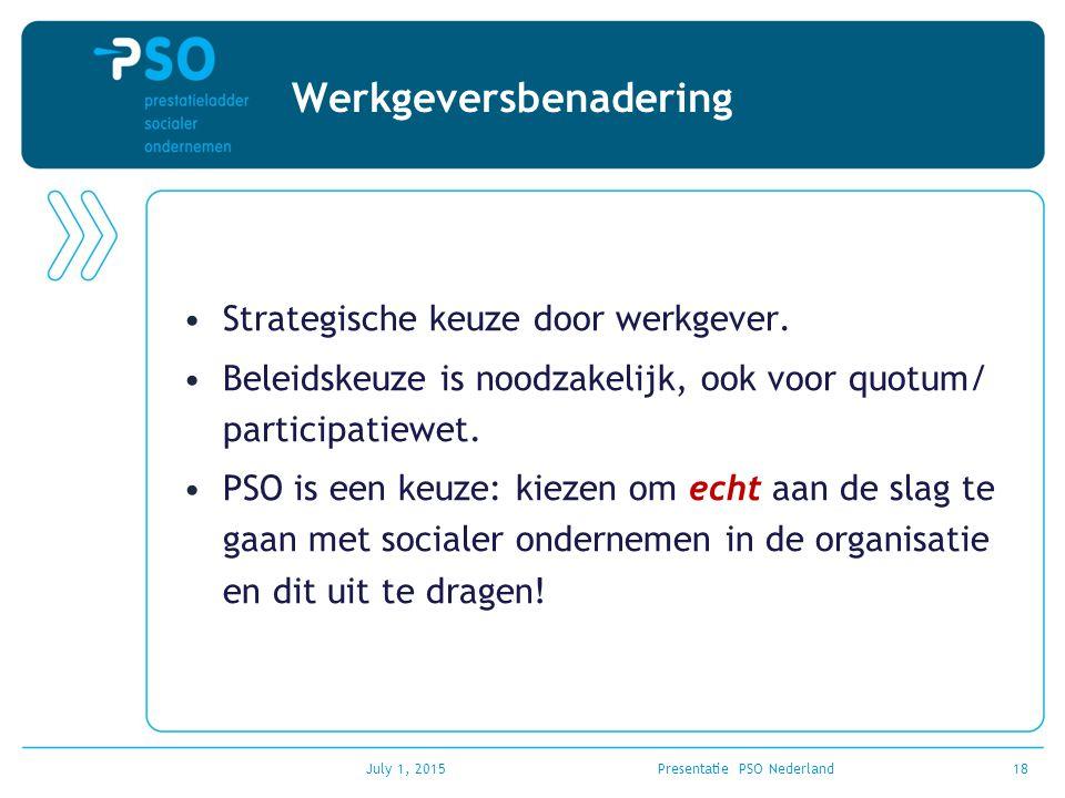 Werkgeversbenadering Strategische keuze door werkgever. Beleidskeuze is noodzakelijk, ook voor quotum/ participatiewet. PSO is een keuze: kiezen om ec
