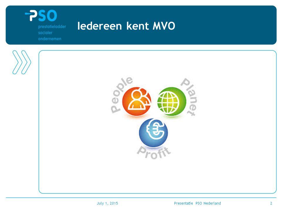 July 1, 2015Presentatie PSO Nederland13 Kwalitatieve beoordeling Bedrijven moeten voldoen aan minimale kwalitatieve eisen en daarvoor een checklist invullen: –passend werk –Integratie –functioneren en ontwikkeling –begeleiding Het bedrijf wordt grotendeels vrij gelaten in de wijze waarop ze aan deze criteria moet voldoen.