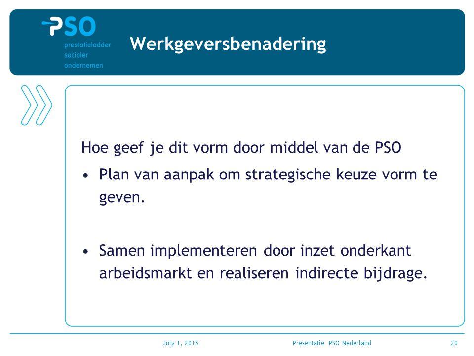 Werkgeversbenadering Hoe geef je dit vorm door middel van de PSO Plan van aanpak om strategische keuze vorm te geven. Samen implementeren door inzet o