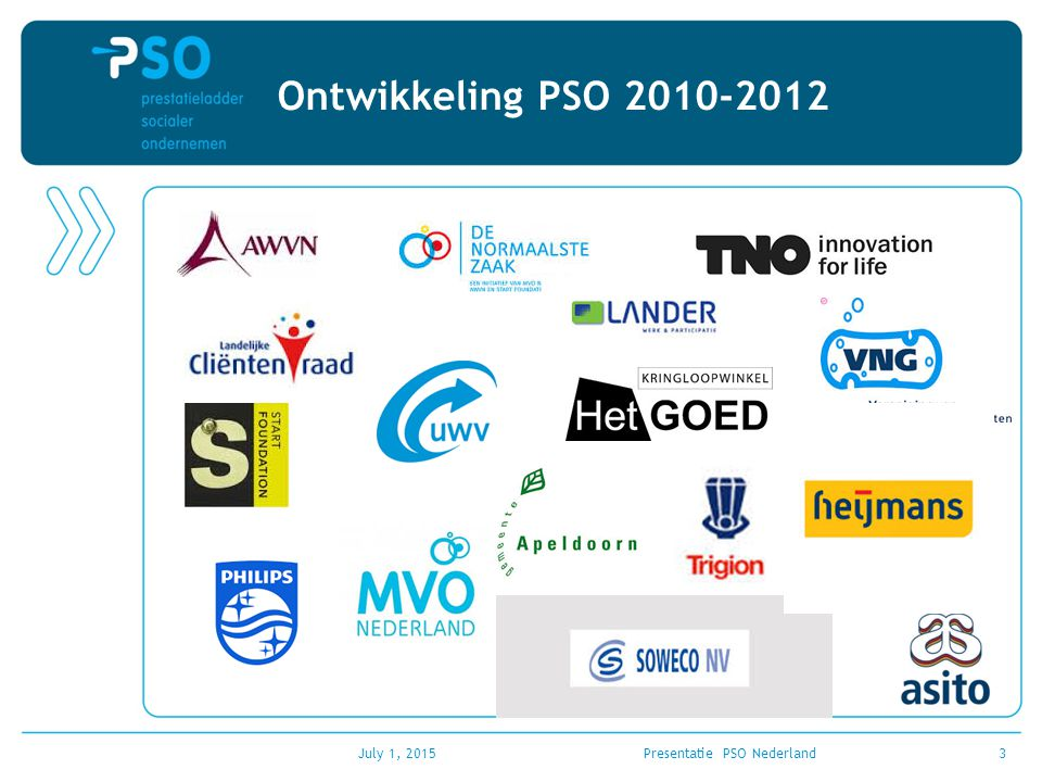 July 1, 2015Presentatie PSO Nederland4 Uitgangspunten PSO Eén generiek model voor alle reguliere werkgevers (groot, klein, alle branches en juist voor het MKB).