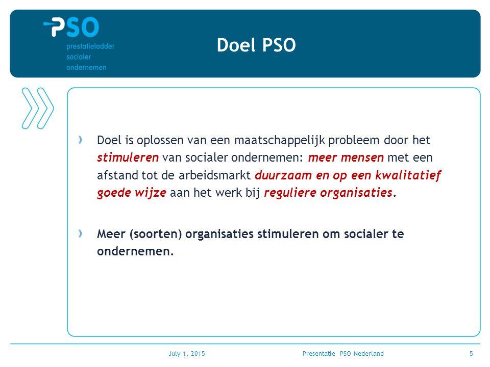 July 1, 2015Presentatie PSO Nederland6 Wat is de PSO PSO is een erkenning voor ondernemers die werkgelegenheid bieden aan mensen met een afstand tot de arbeidsmarkt.