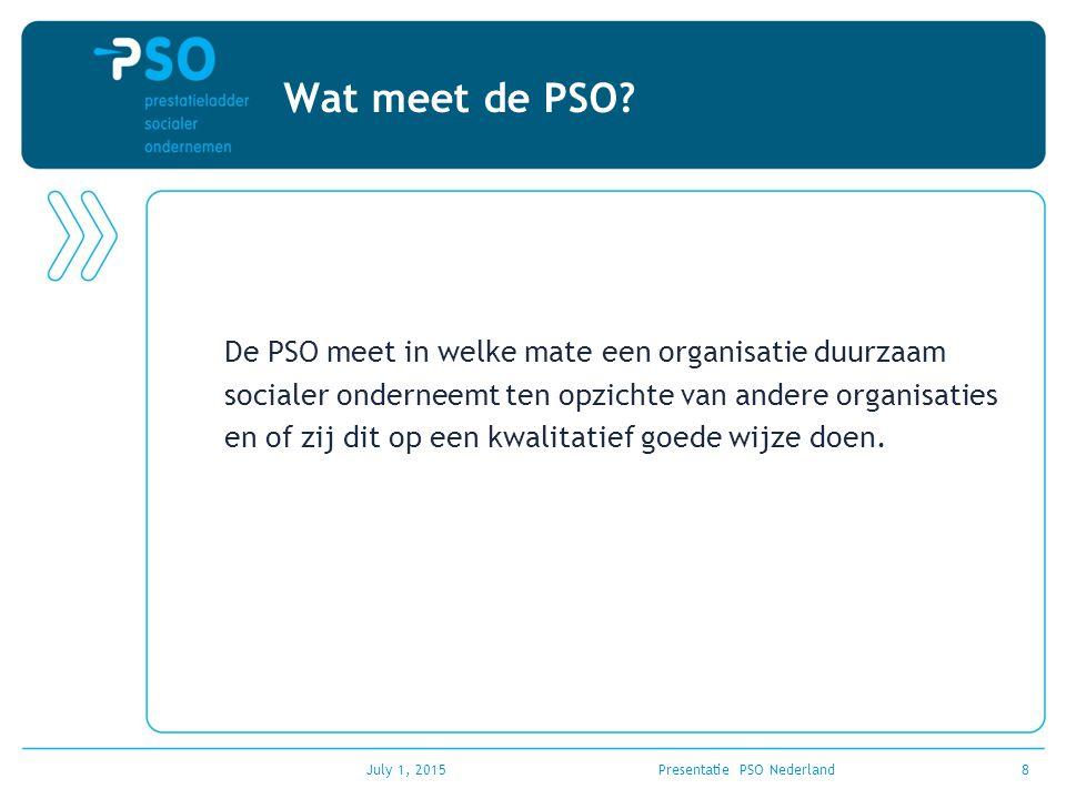 July 1, 2015Presentatie PSO Nederland8 Wat meet de PSO? De PSO meet in welke mate een organisatie duurzaam socialer onderneemt ten opzichte van andere