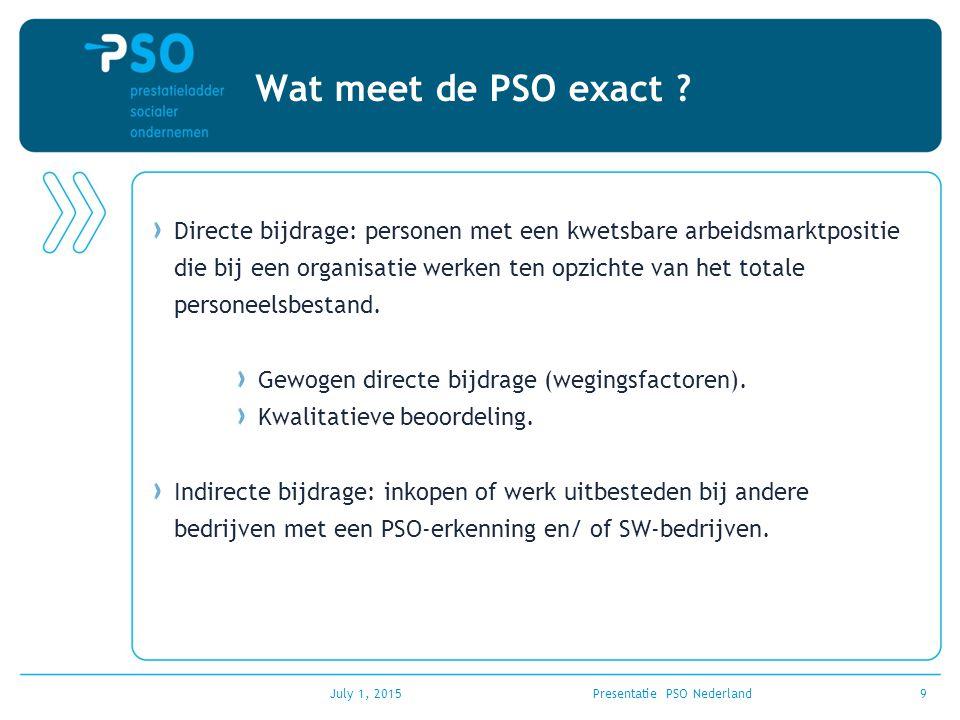 July 1, 2015Presentatie PSO Nederland9 Wat meet de PSO exact ? Directe bijdrage: personen met een kwetsbare arbeidsmarktpositie die bij een organisati