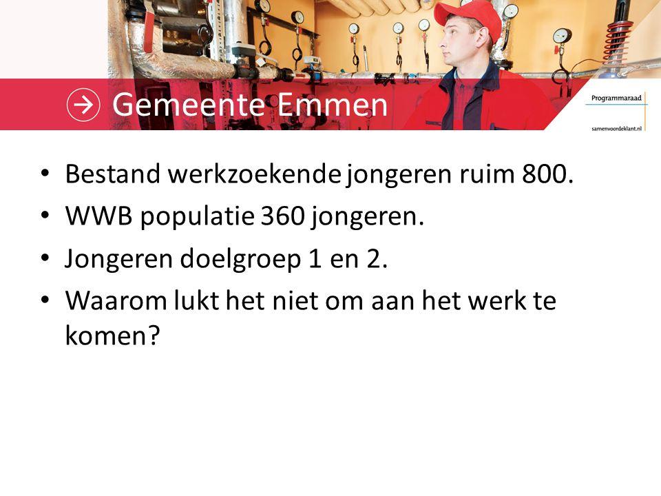 Gemeente Emmen Bestand werkzoekende jongeren ruim 800.