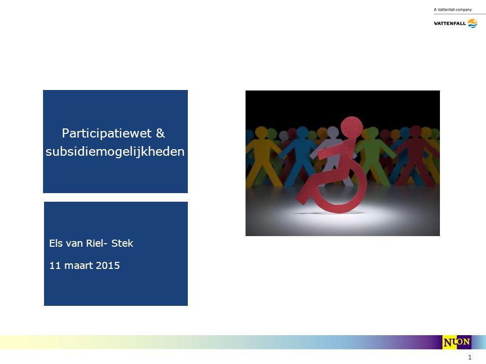 1 Participatiewet & subsidiemogelijkheden Els van Riel- Stek 11 maart 2015