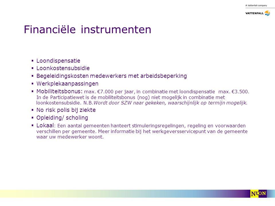 Financiële instrumenten  Loondispensatie  Loonkostensubsidie  Begeleidingskosten medewerkers met arbeidsbeperking  Werkplekaanpassingen  Mobiliteitsbonus: max.