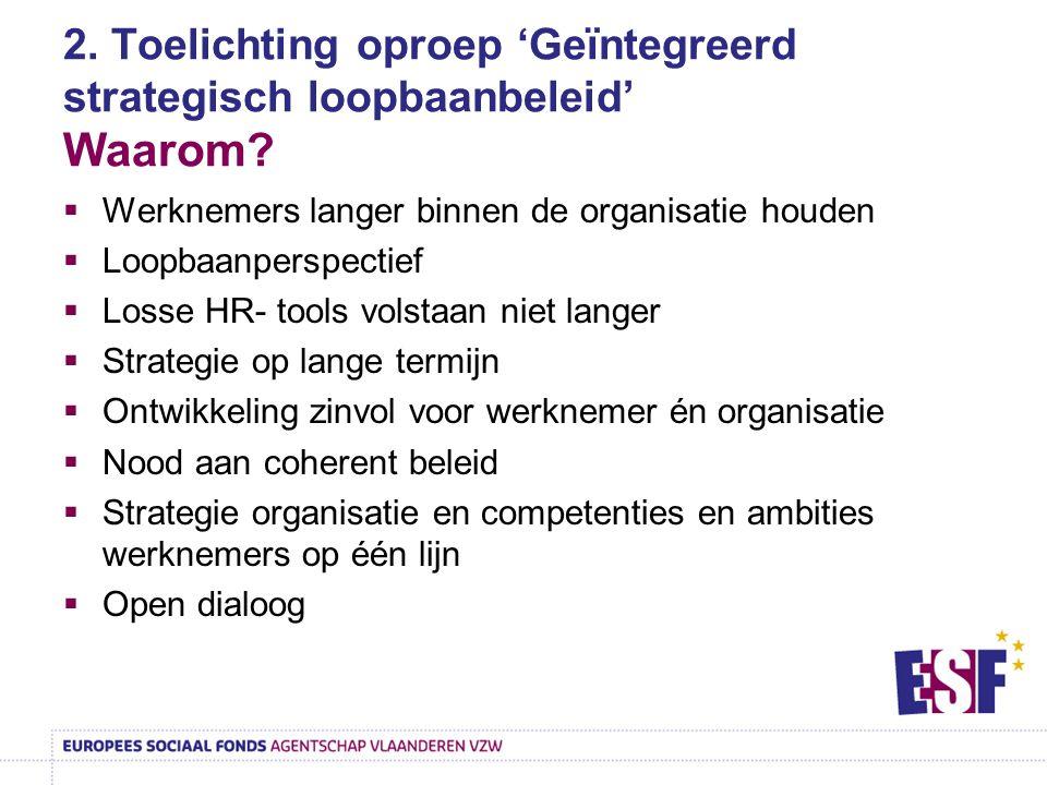 2. Toelichting oproep 'Geïntegreerd strategisch loopbaanbeleid' Waarom?  Werknemers langer binnen de organisatie houden  Loopbaanperspectief  Losse