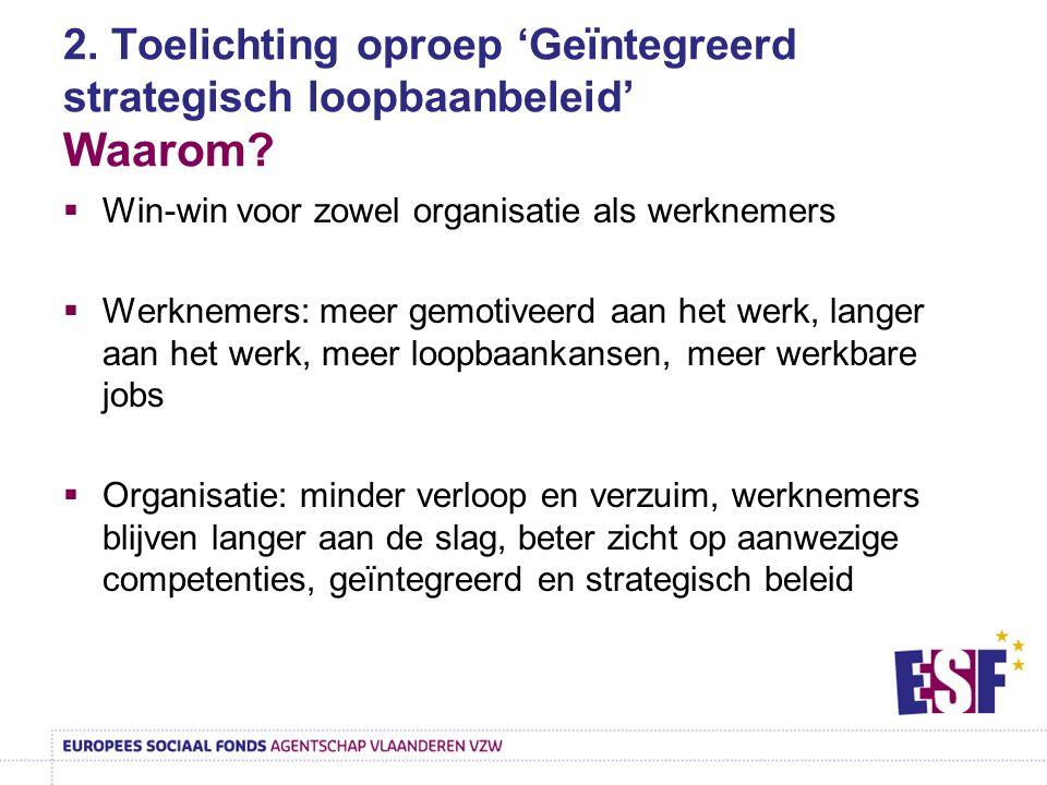 2. Toelichting oproep 'Geïntegreerd strategisch loopbaanbeleid' Waarom?  Win-win voor zowel organisatie als werknemers  Werknemers: meer gemotiveerd