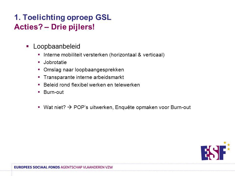 1. Toelichting oproep GSL Acties? – Drie pijlers!  Loopbaanbeleid  Interne mobiliteit versterken (horizontaal & verticaal)  Jobrotatie  Omslag naa