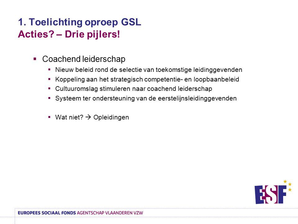 1. Toelichting oproep GSL Acties? – Drie pijlers!  Coachend leiderschap  Nieuw beleid rond de selectie van toekomstige leidinggevenden  Koppeling a