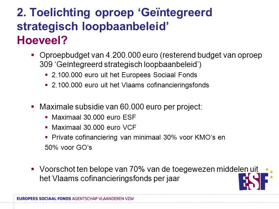 2. Toelichting oproep 'Geïntegreerd strategisch loopbaanbeleid' Hoeveel?  Oproepbudget van 4.200.000 euro (resterend budget van oproep 309 'Geïntegre