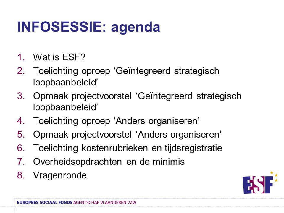 INFOSESSIE: agenda 1.Wat is ESF? 2.Toelichting oproep 'Geïntegreerd strategisch loopbaanbeleid' 3.Opmaak projectvoorstel 'Geïntegreerd strategisch loo