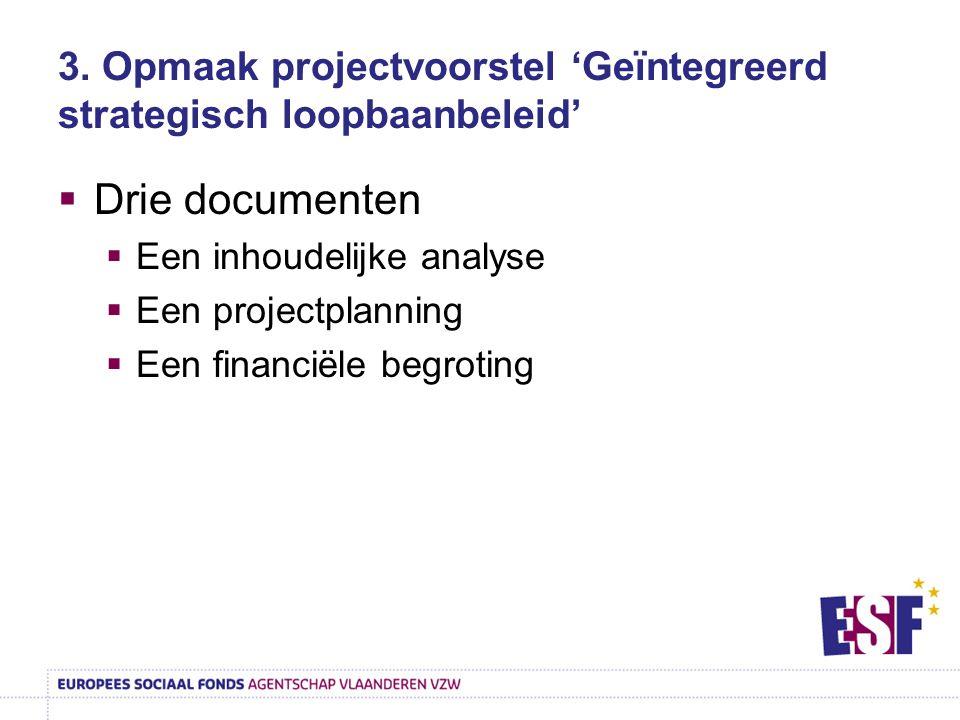 3. Opmaak projectvoorstel 'Geïntegreerd strategisch loopbaanbeleid'  Drie documenten  Een inhoudelijke analyse  Een projectplanning  Een financiël