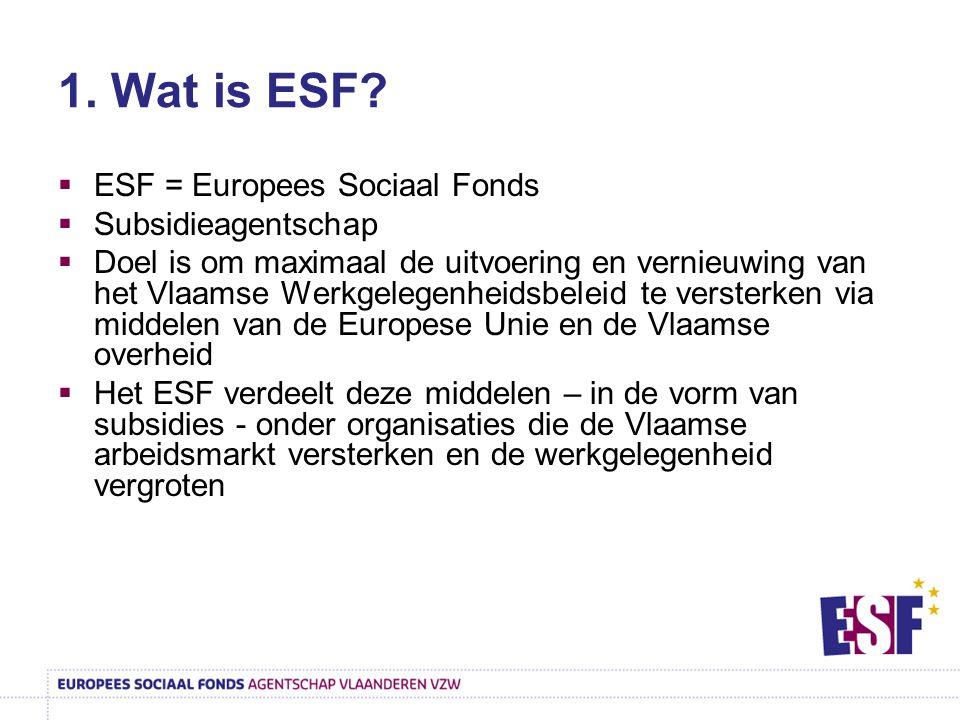1. Wat is ESF?  ESF = Europees Sociaal Fonds  Subsidieagentschap  Doel is om maximaal de uitvoering en vernieuwing van het Vlaamse Werkgelegenheids